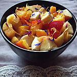 recette Salade de Fruits Jaunes à l'Eau de Rose & Fleurs Séchées