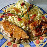 recette saumon  poivrons-créme