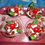 Verrine boursin tomates séchées,chorizo