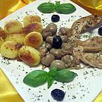 recette Aiguillettes de poulet aux champignons entiers.