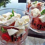Verrines de tomates mozzarella basilic et chorizo