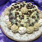 recette Gâteau au chocolat et dés de pomme, nappage chocolat blanc.