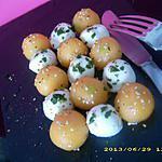 recette salade damier melon-mozza aux graines de sésames et basilic
