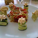 salade de légumes et sa mousse de chorizo