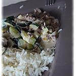 recette Poèlée de courgettes et champignon au riz et à la viande