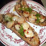 recette Tartines de st jacques à la fondue d échalotes