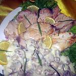 recette Espadon en sauce blanche, câpres et champignons.