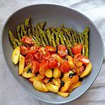 recette Salade d'asperges vertes tomates abricots & basilic, sauce jus d'orange et vinaigre balsamique