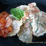 raviolis aux gambas et basilic, sauce à la crème