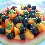 recette ANGURIA  (PASTEQUE)  RIPIENA  DE FRUITS  ET  AMARENA