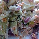 recette Rigatoni au Saumon ognions rouge basilic accompagnée de sa sauce au fromage blanc citron