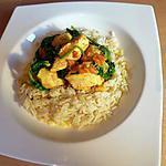recette Curry de poulet aux épinards