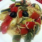 recette Spaghettis aux légumes du soleil.