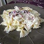 recette Farfalles sauce bleue mozzarella et lamelle de jambon cru