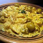 recette emicé de poulet au curry creme olive