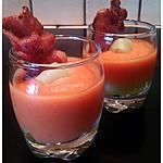 recette Verrines Gaspacho de tomates, de concombres & sa chips de lard.