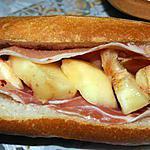recette Sandwich jambon cru et pêche