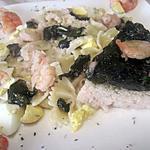 recette pâtes farfalles aux crustacés et à l'oseille.