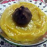 recette Compote de pommes. d'abricots au sirop. rocher chocolaté.