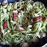 recette tagliatelles basilic au poulet tomates séchées, olive et sauce au parmesan