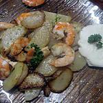 recette crevettes sur 1 lit de radis noir rissolé avec oeuf  molet.
