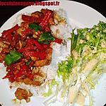 recette Dinde & Poivron sauce soja pimentée, riz & crudité
