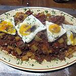 recette Boeuf haché au rutabaga et oeufs sur un plat.