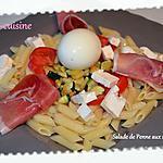 recette Salade de Pennes tièdes aux courgettes ailées et saveurs d'Italie