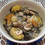 recette Vermicellle chinois aux champignons et crustacès.