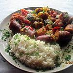recette Rougail de saucisses fumées aux légumes.