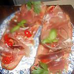 recette Tartine tomate,jambon de bayonne
