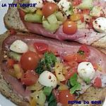 recette Tartines grillées à l'huile d'olive et ail, couvertes de légumes crus du jardin, mozzarela et herbes aromatiques     (41)               ... voir recette de Jean :'Tartine tomate, jambon de bayonne'