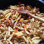 recette MACARONIS AU THON, TOMATE ET BASILIC