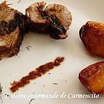 recette Filet mignon farci aux pruneaux et ses pêches confites