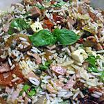 recette riz à la charcuterie au basilic cuit.