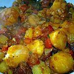 recette Pommes de terre grenaille à la tomate, au chorizo et au poivron