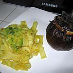recette Aubergine farcie et tagliatelle zucchini curcuma