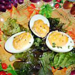 recette Petits oeufs mimosa sur lit de salade