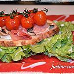 recette tartine de jambon cru au cèvre et tomates cerises confites