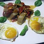 recette oeufs sur le plat au fenouil aux quatuor de poivrons.