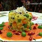recette Risotto aux petits légumes et sa sauce de tomates au chorizo
