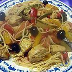 recette Spaghettis massalé avec un duo de viandes ensoleillées.