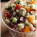 recette ~Salade de quinoa avec amandes, feta et légumes~