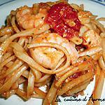 recette Pâte a la  sauce tomates aux scampi + tomates cerise