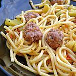 recette Spaghettis aux boulettes de chair à saucisses au basilic, courgettes et tomates poêlées