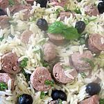 recette Saucisses de Toulouse aux petites pâtes Italienne.