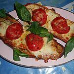 recette Crostini,jambon,tomate,mozzarella