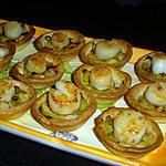 recette Mini-tartelettes Fondue de poireaux / Noix de St Jacques (sans corail)