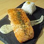 recette Pavé de saumon grillé sauce crème citronée et son riz blanc