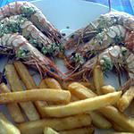 recette GAMBAS  GRILLEES SAUCE  CHIEN  (A MA FACON) et   FRITES